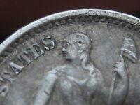 1872-S SEATED LIBERTY HALF DIME- ABOVE BOW- EXTRA FINE  DETAILS