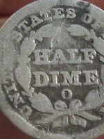1849 O SEATED LIBERTY HALF DIME-
