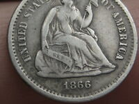 1866-S SEATED LIBERTY HALF DIME, VF/EXTRA FINE  DETAILS