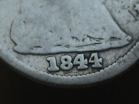 1844 SEATED LIBERTY HALF DIME-  REPUNCHED DATE, RPD