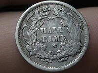 1871 S OR 1872 S SEATED LIBERTY HALF DIME, MINTMARK ABOVE WREATH