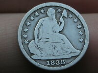1838 P SEATED LIBERTY HALF DIME- LARGE STARS, VG/FINE DETAILS, FULL RIMS