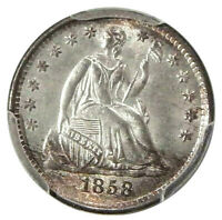 1858 H10C PCGS MINT STATE 64 CAC  PQ HIGH-END SEATED LIBERTY HALF DIME