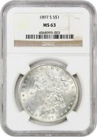 1897-S $1 NGC MINT STATE 63 - MORGAN SILVER DOLLAR