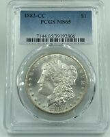 1883-CC PCGS MINT STATE 65 MORGAN SILVER DOLLAR BLAST WHITE FLAWLESS LOOKING COIN