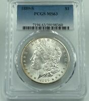 1889-S PCGS MINT STATE 63 MORGAN SILVER DOLLAR WHITE LUSTROUS COIN