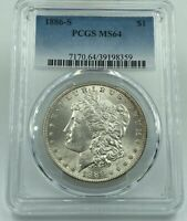 1886-S PCGS MINT STATE 64 MORGAN SILVER DOLLAR BLAST WHITE BETTER DATE