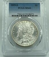 1899-S PCGS MINT STATE 62 MORGAN SILVER DOLLAR BLAST WHITE BETTER DATE COIN