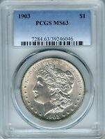 1903 MORGAN SILVER DOLLAR PCGS MINT STATE 63  $1 39246046 NO TONING AND