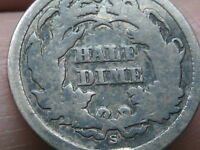 1864 S SEATED LIBERTY HALF DIME- GOOD DETAILS