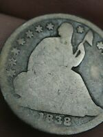 1838 SEATED LIBERTY HALF DIME- LARGE STARS