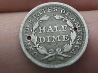 1858 P SEATED LIBERTY HALF DIME- HOLED TWICE, GOOD DETAILS