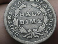 1838 P SEATED LIBERTY HALF DIME- LARGE STARS, VG/FINE DETAILS