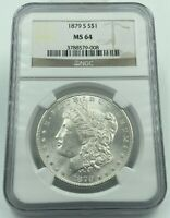 1879-S NGC MINT STATE 64 MORGAN SILVER DOLLAR BLAST WHITE COIN BETTER DATE