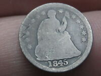 1845 P SEATED LIBERTY HALF DIME- GOOD DETAILS
