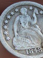1848 O SEATED LIBERTY HALF DIME, FINE/VF OBVERSE DETAILS