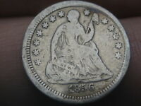 1856 P SEATED LIBERTY HALF DIME- VG/FINE DETAILS, ROTATED REVERSE MINT ERROR