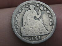 1841 SEATED LIBERTY HALF DIME- GOOD/VG OBVERSE DETAILS