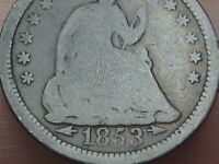 1853 P SEATED LIBERTY HALF DIME- WITH ARROWS, GOOD DETAILS