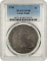1798 LARGE EAGLE $1 PCGS EXTRA FINE 40 - BUST SILVER DOLLAR - GREAT BUST DOLLAR TYPE COIN