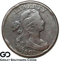 1803 DRAPED BUST LARGE CENT SMALL DATE TOUGH VF EARLY COPPER