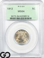 1912 MS64 LIBERTY NICKEL V NICKEL PCGS MINT STATE 64    OGH
