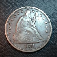 1871   EXTRA FINE   SEATED LIBERTY SILVER DOLLAR