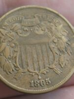 1865 TWO 2 CENT PIECE- FANCY 5 VARIETY, VF/EXTRA FINE  DETAILS, WE SHOWING
