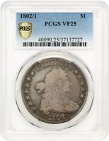 1802/1 $1 PCGS VF25 WIDE DATE PRETTY TONING - BUST SILVER DOLLAR
