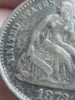 1873-S SEATED LIBERTY HALF DIME- VF/EXTRA FINE  DETAILS