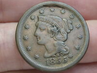 1855 BRAIDED HAIR LARGE CENT PENNY- FINE/VF DETAILS, KNOB ON EAR