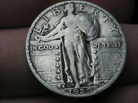 1929 S SILVER STANDING LIBERTY QUARTER, VF/EXTRA FINE  DETAILS