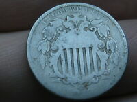1867 SHIELD NICKEL 5 CENT PIECE- WITH RAYS, GOOD DETAILS