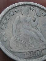 1856 P SEATED LIBERTY SILVER DIME- FINE DETAILS, LARGE DATE