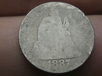 1887 P SEATED LIBERTY SILVER DIME- LOWBALL, HEAVILY WORN