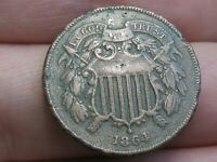 1864 TWO 2 CENT PIECE- LARGE MOTTO- VF DETAILS, PARTIAL WE