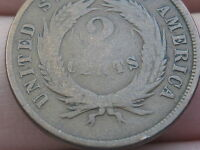 1865/1865 TWO 2 CENT PIECE- REPUNCHED DATE MINT ERROR, RPD