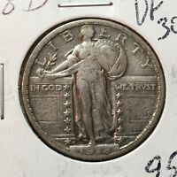1918-D  VF-EXTRA FINE    STANDING LIBERTY QUARTER    COIN
