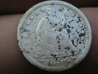 1854 P SEATED LIBERTY HALF DIME- VF DETAILS
