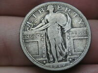 1917 P SILVER STANDING LIBERTY QUARTER, VARIETY 1, TYPE 1, FINE DETAILS