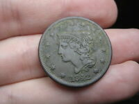 1842 BRAIDED HAIR LARGE CENT PENNY- LARGE DATE, VF/EXTRA FINE  DETAILS