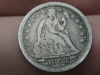 1853 SEATED LIBERTY SILVER DIME- WITH ARROWS, VF/EXTRA FINE  DETAILS