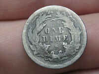 1875 S SEATED LIBERTY SILVER DIME- MINTMARK ABOVE BOW,