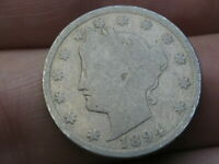 1894 LIBERTY HEAD V NICKEL 5 CENT PIECE- GOOD DETAILS, FULL RIMS