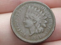 1861 COPPER NICKEL INDIAN HEAD CENT PENNY- VF/EXTRA FINE  DETAILS