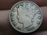 1912 D LIBERTY HEAD V NICKEL 5 CENT PIECE- VF DETAILS, FULL RIMS