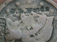 1853 BRAIDED HAIR LARGE CENT PENNY- COUNTERSTAMPED J.L. WOODS