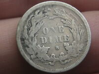 1875 S SEATED LIBERTY DIME- VG/FINE DETAILS, MINTMARK ABOVE BOW/WREATH