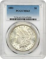 1881 $1 PCGS MINT STATE 63 - MORGAN SILVER DOLLAR