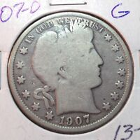 1907-O BARBER HALF DOLLAR   Y AND PART T